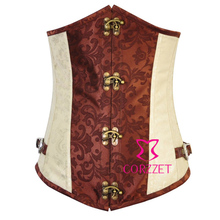 Brown Steampunk Gothic Style Ring Buckle Latex Cincher Waist Trainer Corset Underbust Bustier Corsets corpetes e