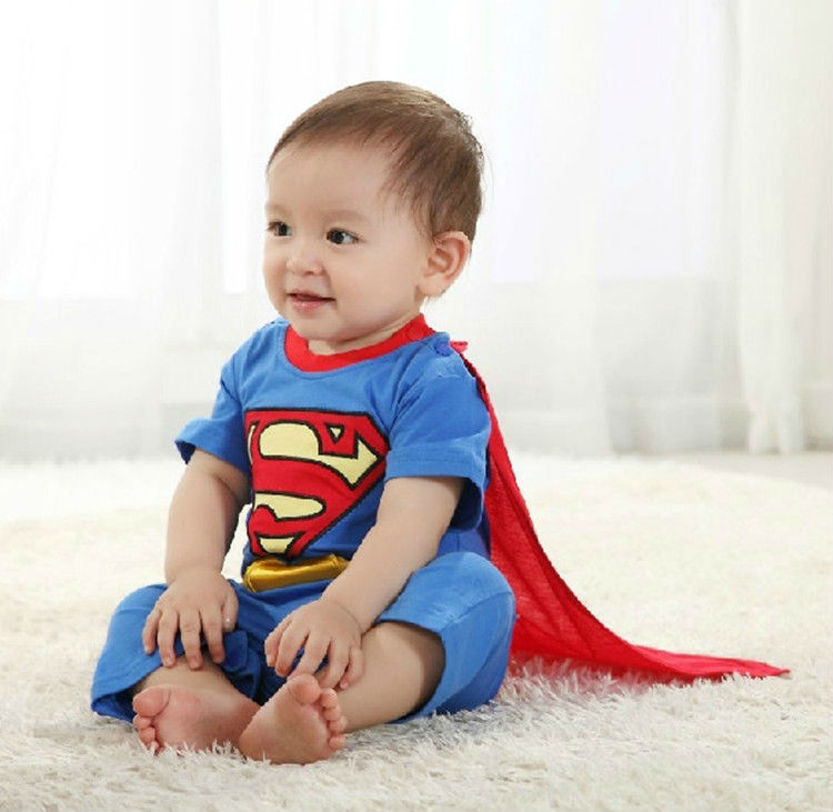 Free Ship 4 sets Long Sleeve Superman Romper with Dress Smock Baby Boy Girl Animal Jumpsuits