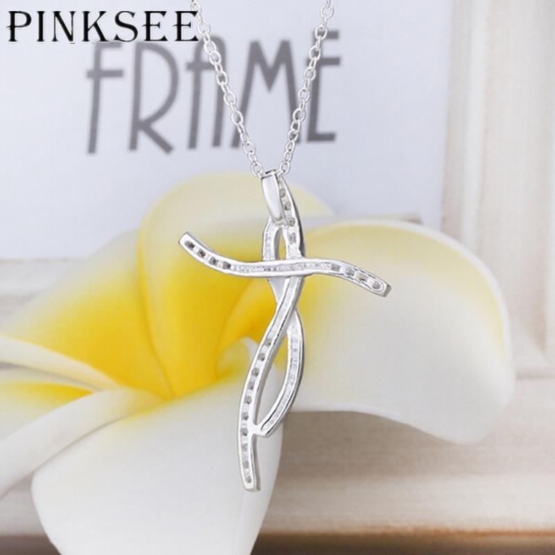 PINKSEE Pretty Fashion Design Silver Cross Pendant Chain Necklace Zircon Romantic Classica