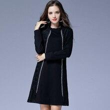 dress elegant 2018 plus size dress black autumn lace long sleeve font b christmas b font
