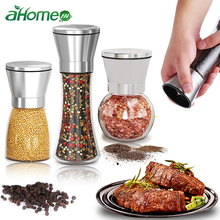 Salt Pepper Grinder Herb Mills pepper Muller Adjustable Coarseness Stainless Steel Glass Spices Shaker Kitchen Shredder Chopper walter mills auto glass