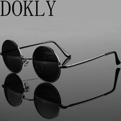 Dokly Новая мода шоу стиль очки настоящие поляризованные солнцезащитные очки винтажные Круглые Солнцезащитные очки UV400 черные линзы
