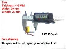 Bateria de Polímero Frete Grátis 3.7 V de Lítio 402025 042025 150 Mah Mp3 Mp4 Mp5