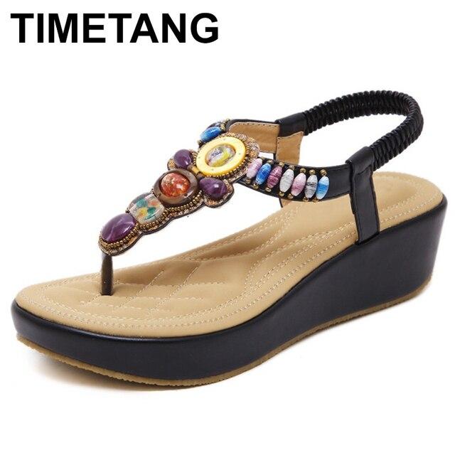 TIMETANG donne di Estate scarpe nuova pista di moda donna sandali perline Più Il formato Femme Morbido zeppe Open Toe Sandali Delle Donne C056