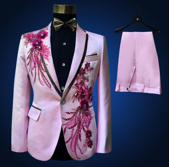 Pink Blazer Men Groom Suit Set With Pants Personality Mens Suits Costume Singer Ternos Masculino Stage Clothing Formal Dress