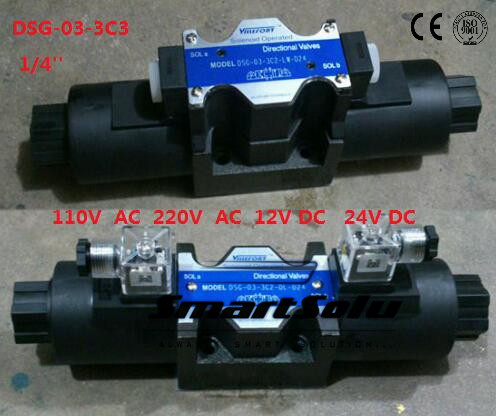 Free shipping DSG-03-3C3 12V DC 1/4''  SOLENOID OPERATED DIRECTIONAL CONTROL VALVE, Terminal Box Type Plug-in Connector Type smt dsg 02 3c5 rc 3 8 24v dc solenoid operated directional valve 3 positions spring centred terminal box plug in connector type