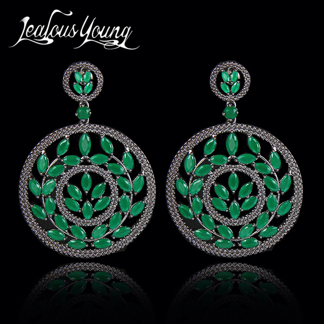 Fashion Design Olive Branch Circle Green Stone Drop Earrings Cubic Zircon Vintage Woman Jewelry