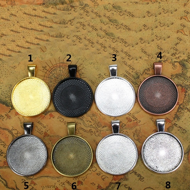 10pcs Multi Colors 25mm Necklace Pendant Setting Cabochon Cameo Base Tray Bezel Blank Fit 25mm Cabochons Jewelry Making Findings