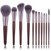 11 шт. красный деревянный набор кистей для макияжа пламя кисть Eye Shadow Фонд порошок смешивание Кабуки Макияж Brush Tool kit