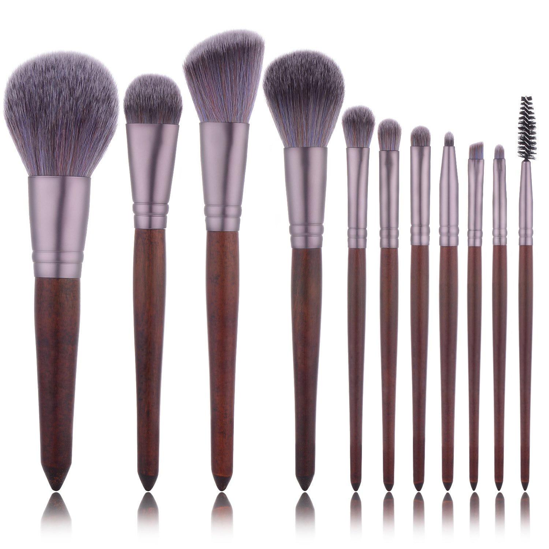 11pcs Red Wooden Makeup Brushes Set Flame Brush Eye Shadow Foundation Cosmetic Powder Blending Kabuki Make Up brush Tool kit