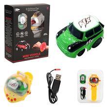 Mini gravidade sensoriamento relógio de controle remoto carro de corrida 2.4g rc recarregável dos desenhos animados brinquedos do carro presentes para crianças
