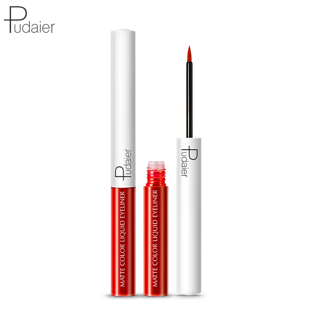 Pudaier Matte Liquid Eyeliner Waterproof Long-lasting Pigment Green Purple Red Orange Color Sexy Eye Liner Party Beauty Cosmetic 4