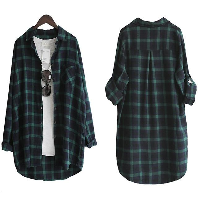 Blusa de mujer Camisa suelta Casual Plaid Camisas de manga larga Tops de gran tamaño Blusas para mujer Rojo Verde 2021 3
