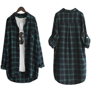 Image 3 - Vogorsean Katoen Vrouwen Blouse Overhemd Plaid 2020 Losse Casual Plaid Lange Mouwen Grote Maat Tops Womens Blouses Rood/Groen