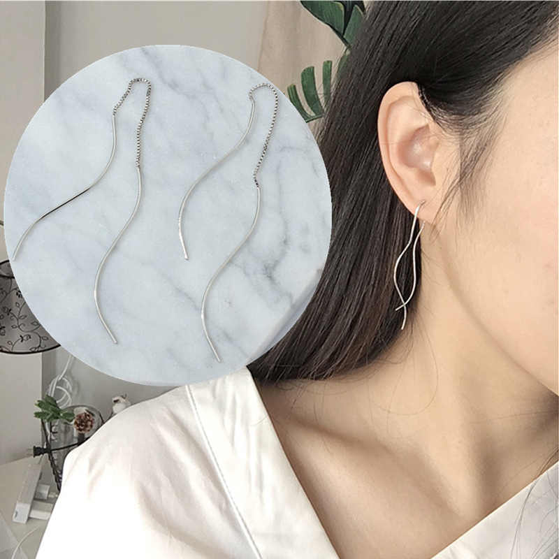 2019 New Hot Fashion Original Long Statement Maxi Double layer S Hook Shape Tassel Penetrate Drop Earrings For Women Jewelry