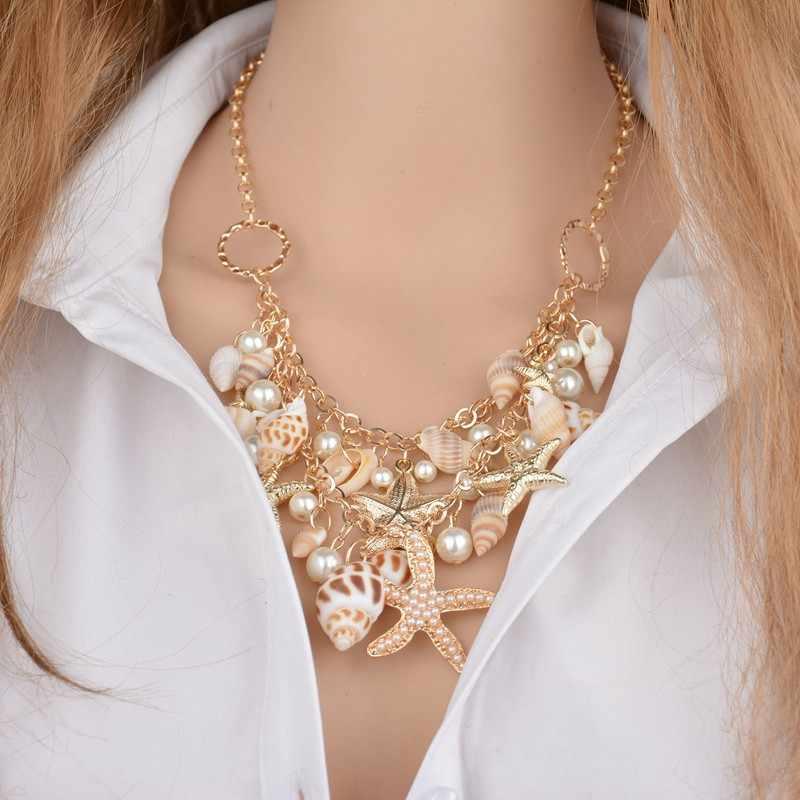 ボヘミアンビーチ夏の女性ネックレスヒトデシェルペンダント Nacklace & チャームブレスレットジュエリー女性の服
