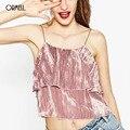 ORMELL Velvet Ruffles Camisole Regatas Sexy Festa de Ano Novo Mulheres Camis Encabeça Streetwear Inverno Cinta Cami
