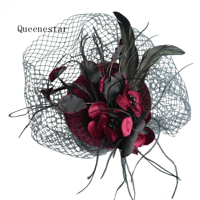 Luxury Feather Fascinator Headpieces Women Fashion Wedding Bride Veil Hat Headwear Cocktail Ascot Party Ladies Hair Accessories