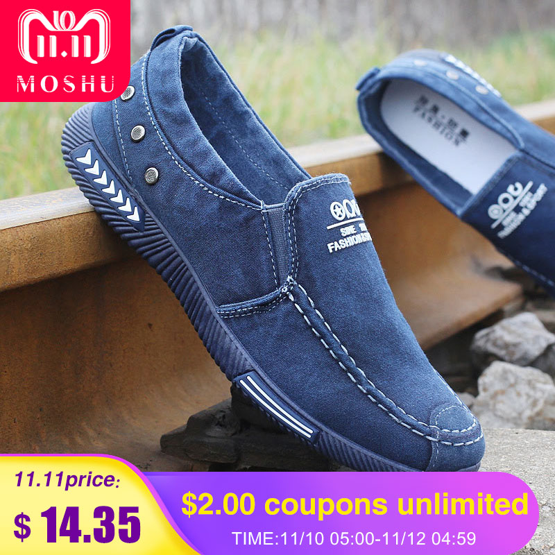 Fashion Denim Men Canvas Shoes male Summer Mens sneakers Slip On Casual Breathable Shoes Loafers Chaussure Homme Black SIZE 45 стоимость