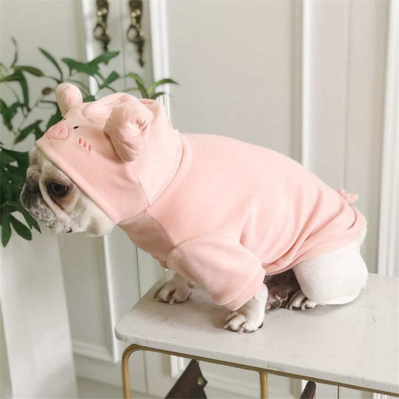 Image 3 - Dog Hoodies 2019 Pet Puppy Dog Clothes Pig Cosplay Costumes Clothing For Small Large Dog Cat French Bulldog Pug Pets Coat Pink L-in Dog Hoodies from Home & Garden