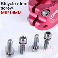 Muqzi 4 pçs fone de ouvido tampa da haste parafuso ultraleve inoxidável assento da bicicleta disco parafuso m6 * 18mm mountain bike estrada acessórios