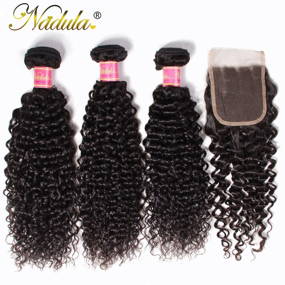 Nadula włosy peruwiański kręcone wiązki z zamknięciem 4*4 bezpłatne część/część środkowa/Therr część szwajcarska koronka zamknięcie z pasma włosów typu remy w 3/4 pasma z siateczką od Przedłużanie włosów i peruki na AliExpress - 11.11_Double 11Singles' Day 1