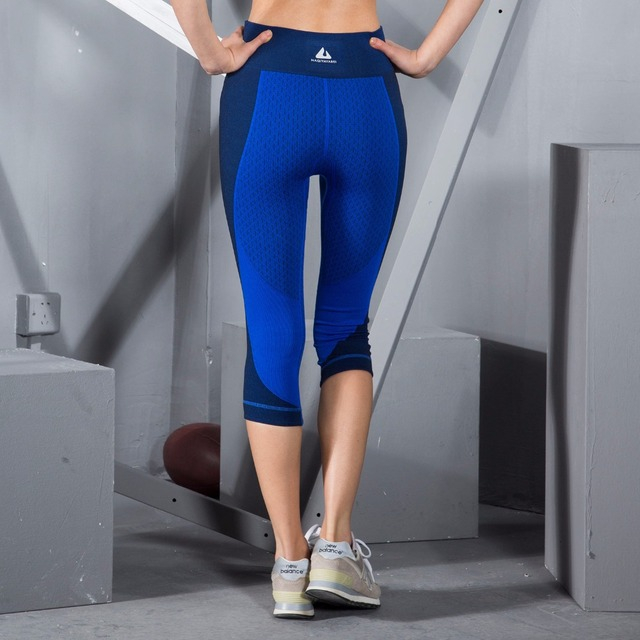 Women's Tight Sports Pants Splicing High Elastic Quick Dry Fitness Running Yoga Hit color Slim 7-points pant