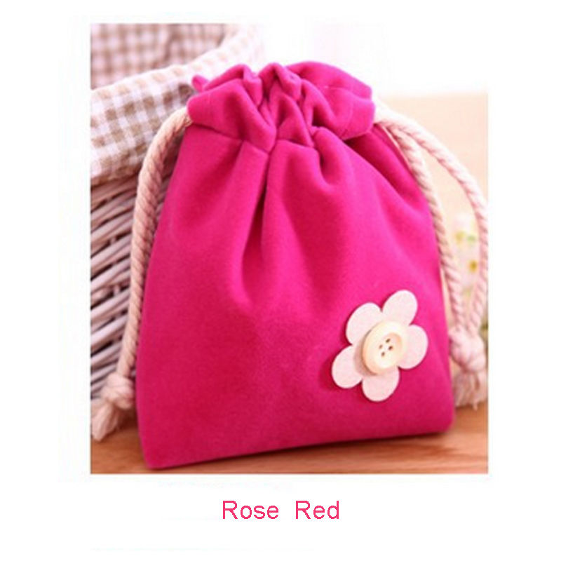 1 pc Lovely Flowers Rose Red Drawstring Pouch Travel Bag Admission package