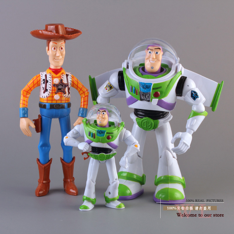 Free Shipping Toy Story 3 Buzz Lightyear Woody Sound Toys PVC Action Figures Model Toys Dolls 3pcs/set Christmas Gifts DSFG092 hot new 1pcs 18cm toy story 3 woody action figures pvc action figure model toys christmas gift toy