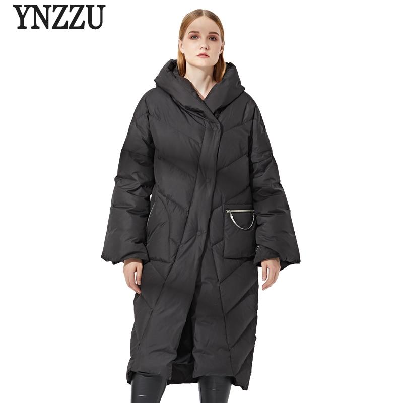 Brand Luxury 2018 Winter Women's   Down   Jacket Vintage Long 90% White Duck   Down     Coat   Women Thick Warm Hooded Ladies Outwears AO690