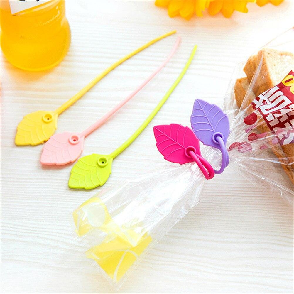 5 teile//los Neue Heißer Verkauf Haushalts Praktische Farbe Blätter Form 17 cm Silikon Draht Kabelbinder Lebensmittel Tasche Dicht Clamp hohe Qualität
