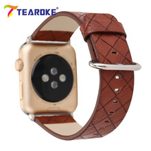 Charm Grid Pattern Leather Watchband For Apple Watch iwatch 38mm 42mm 3D Painting Simple Style Women Men Replacement Strap Band