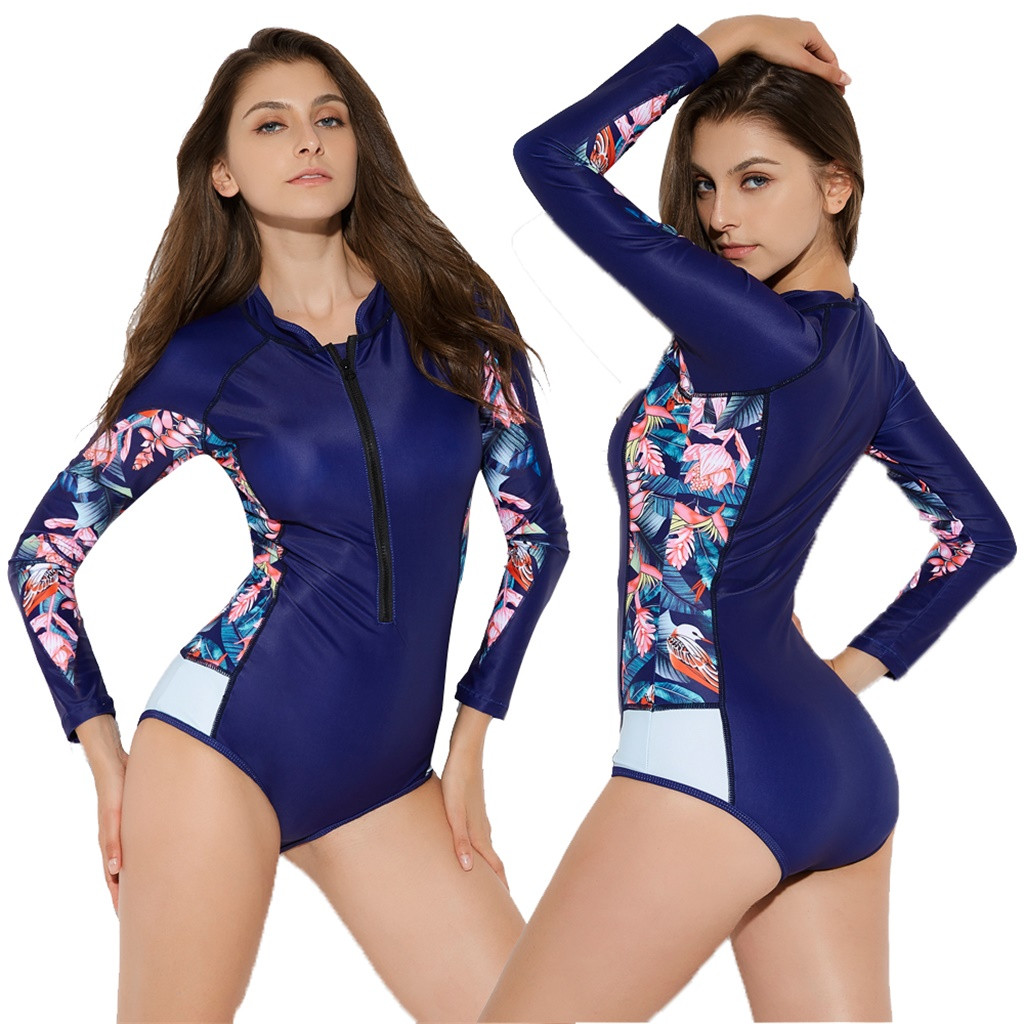 Long Sleeves Rash Guard Women Surf Swimwear Floral One Piece Swimsuit For Diving