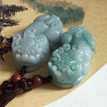 2018 New 100% Natural Jadeite Jades Pendant 3D Carved God Beast PIXIU Fortune Pendants Women Men's Amulet Jades Jewelry+Rope