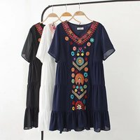 4XL Plus Size Summer Women Casual Bohemian Style Embroidered V Neck Short Sleeves Dress 2017 New