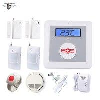 GSM Elder Caring Burglar Security Alarm Home Water/Gas/Smoke Leakage Detector PIR and Door Sensor SOS Panic Button K4F