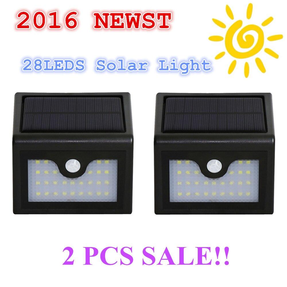 2PCS 28Leds 100LM LED Solar Light Solar Powered Led Outdoor Light Wireless Waterproof IP65 with PIR Motion Sensor Light Freeship