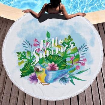 26 Colors 150cm Tassel Giant Beach Blanket Donut Pizza Picnic Camping Mat Round Sandbeach Towel Printed Cloth Pad Shawl Mattress 5