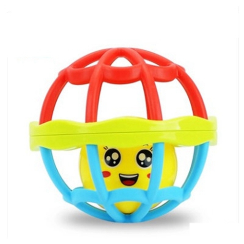 FlyingTown 2pcs Baby hand holding the bell ball baby teaching aids rosette fitness soft rubber ball colorful bell ball baby toys
