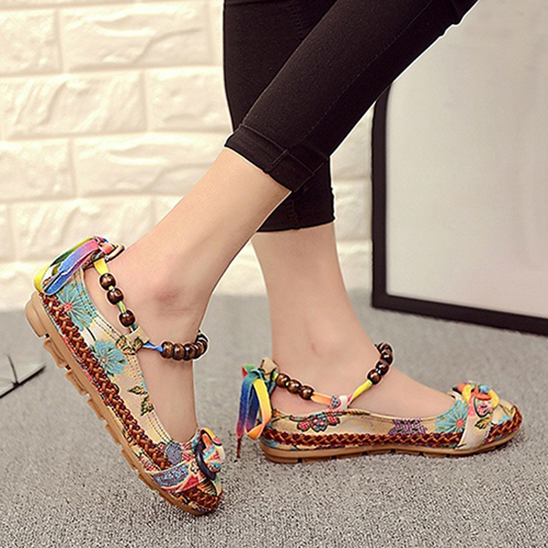 Free ShipÈShoes Loafers Women Flats Lace-Up Ethnic Comfortable Colorful Toe Round Beading Newest