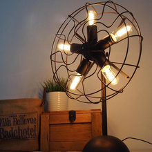 American Vintage RH Loft Industrial Edison Fan Style Table Lamp Restaurant Cafe Decor Luminaria de Mesa 5pcs lamps E27 110-240V