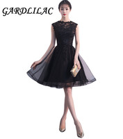Gardlilac Black Lace Homecoming Dress A line O neck Bridesmaid Dress Applique Tulle Wedding Party Dress
