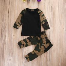 Для новорожденных, для маленьких мальчиков 'Костюмы комплекты Маскировочный, армейский, зеленый футболка и длинные штаны Комплект детской одежды для мальчиков