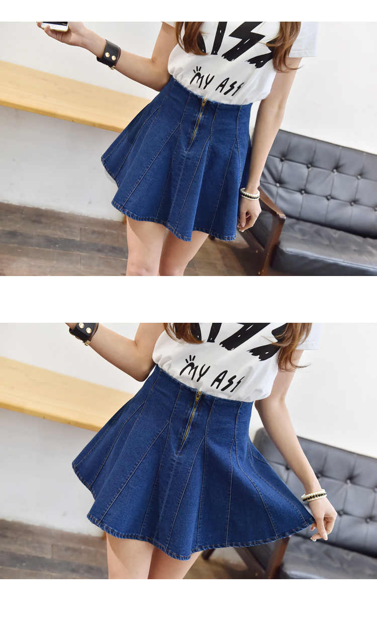 b9ff01e42 ... 2019 Sexy denim pleated skirts womens Korean style female skirt school high  waist tutu mini skirts ...