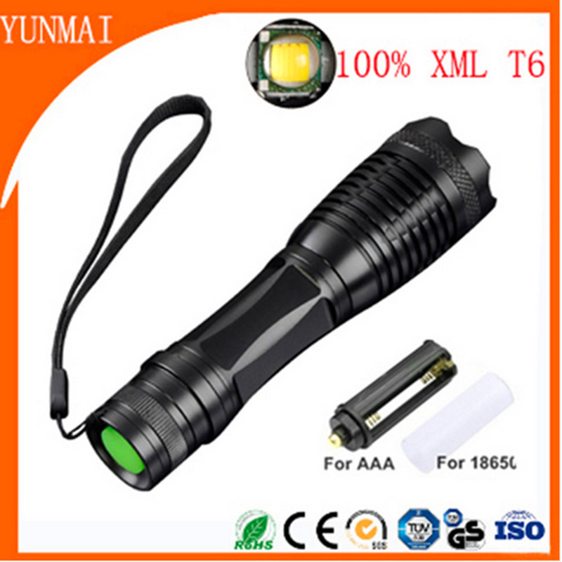 3800LM Aluminum Zoomable Led Flashlight Torch Lamplight for AAA or 1x18650 Battery CampingUSA EU Top Tactical E17 CREE XML T6 6000lumens cree xml t6 flashlight led torch zoomable led flashlight bike bicycle light for 3 x aaa or 1x18650 battery