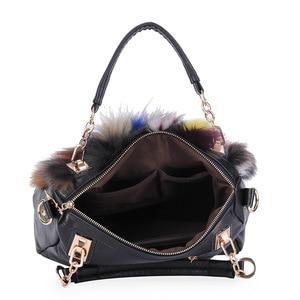 Image 2 - Women Natural Rabbit Hair Tote Bag Lady Winter Cony Hair Muff Fluffy Daily Top handle Bag Female Multicolor Fur Crossbody Bag