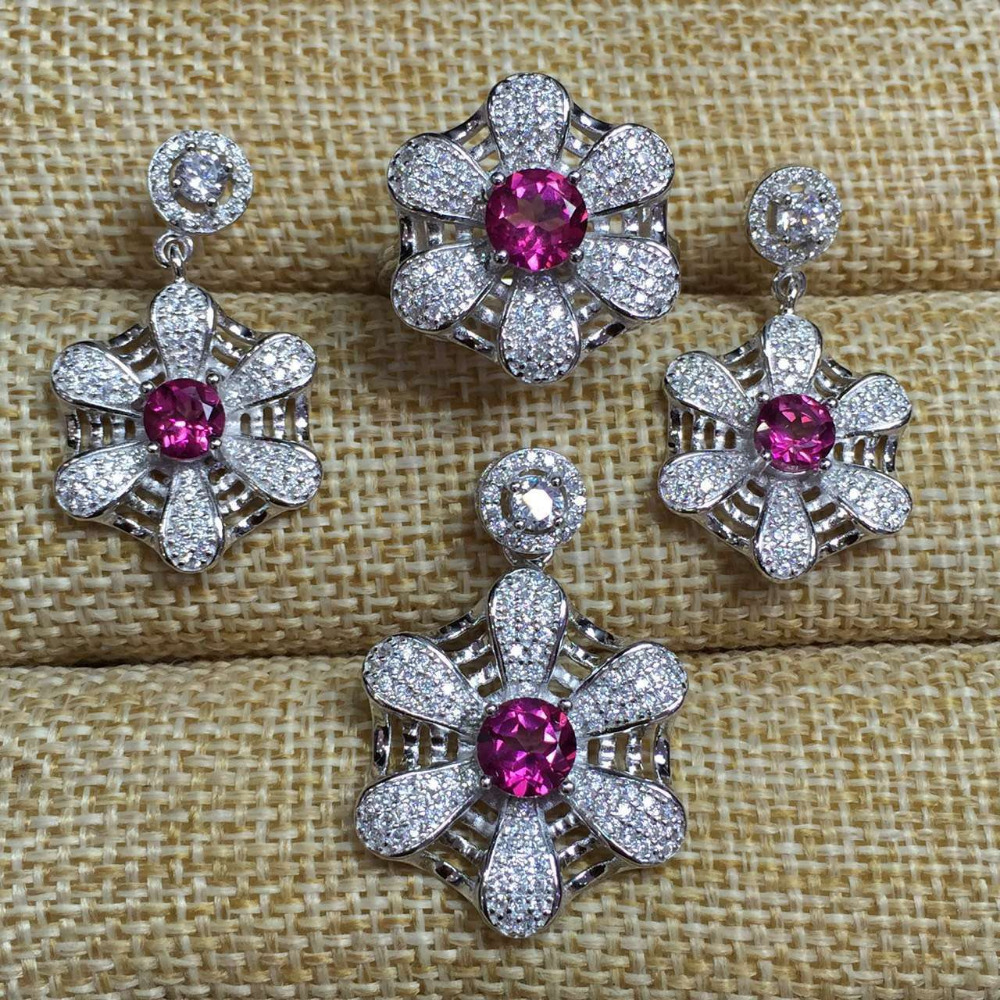 Natural pink topaz gem jewelry sets natural gemstone ring Pendant Earrings 925 silver Stylish lovely Network Fan women jewelry цена