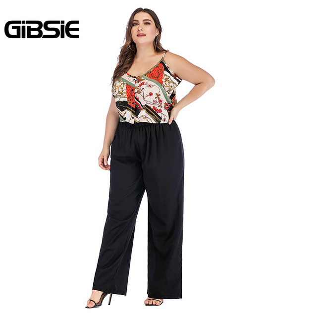 GIBSIE Plus Size Summer 2 Piece Set Mixed Print V Neck Tie Cami Top and Wide Leg Pants Sets Casual Women Two Piece Outfits 5