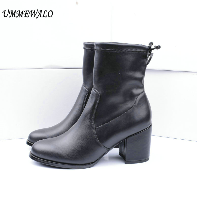 UMMEWALO Boots Women Genuine Leather High Heel Elastic Boots Qualiy Shoes Ladies Casual Autumn Winter Shoes botines mujer