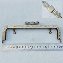 20.5cm big size bronze color metal purse frame clasp DIY bag hardware accessories with diamond buckle 3pcs/lot